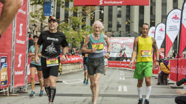 Whitlock completing the Toronto Waterfront Marathon in October.