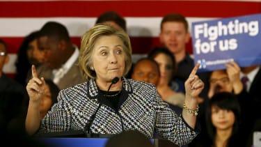 Hillary Clinton gives a stump speech in Texas
