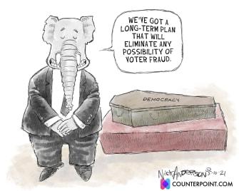 Political Cartoon U.S. gop voter fraud democracy