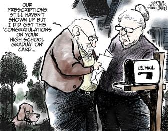 Editorial Cartoon U.S. usps delays