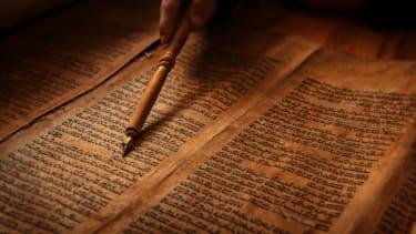 Reading the Torah.