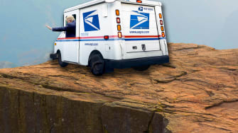 Trump drives a post office truck over a cliff.