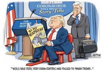 Political Cartoon U.S. Trump Fauci WHO coronavirus scapegoat