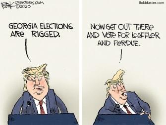 Political Cartoon U.S. Trump Georgia runoff