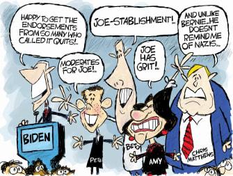 Political Cartoon U.S. Biden endorsement Klobuchar Buttigieg Chris Mathews moderates
