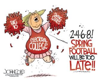 Political Cartoon U.S. Trump Big 10 football