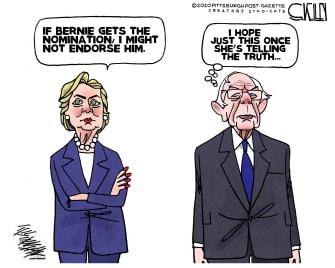 Political Cartoon U.S. Bernie Sanders Hillary Clinton 2020
