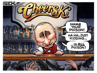 Political Cartoon U.S. Putin Russia Navalny poison Cheers
