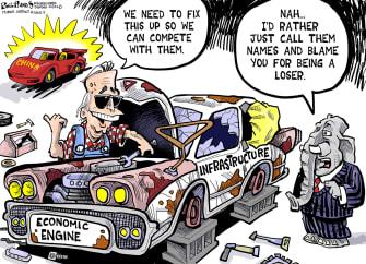 Political Cartoon U.S. biden china infrastructure gop