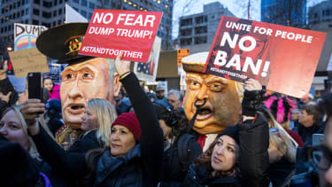 Protesters against Donald Trump's travel ban.