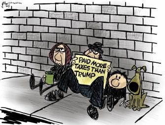 Political Cartoon U.S. Trump taxes