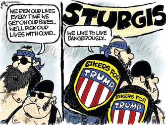Political Cartoon U.S. Trump Coronavirus COVID-19 Risk