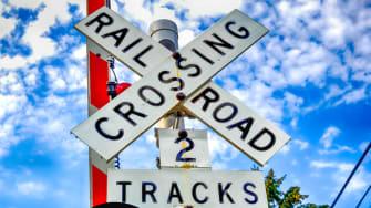A railroad crossing.