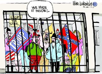 Political Cartoon U.S. Trump capitol rioters