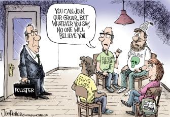 Editorial Cartoon U.S. Pollsters 2020