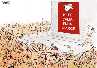 Political Cartoon U.S. Keep Calm Panic Trump leads coronavirus