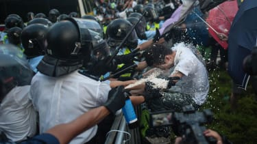 Police blast Hong Kong pro-democracy demonstrators with tear gas