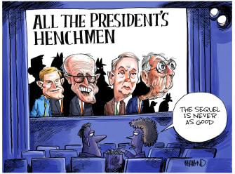 Political Cartoon U.S. All the President's Men Impeachment Trump sequel