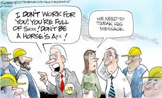 Political Cartoon U.S. Biden curses out Detriot worker tweak message