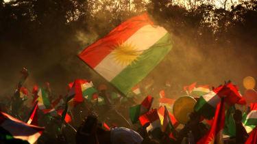 Iraqi Kurds fly Kurdish flags in advance of an independence referendum.