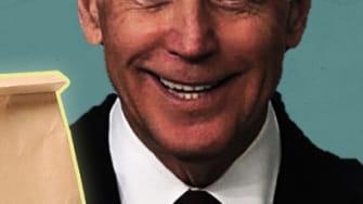 Joe Biden with lunch.