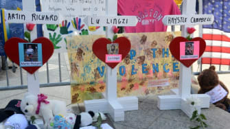 A memorial for the three people killed at the Boston Marathon.
