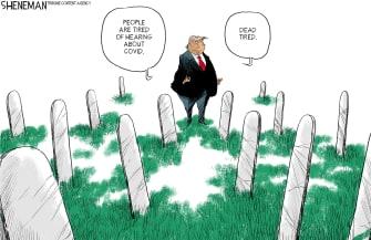 Political Cartoon U.S. Trump COVID deaths