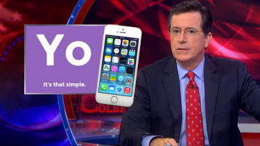 Stephen Colbert demonstrates how the Yo smartphone app would work in real life