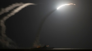 A Tomahawk missile launch.