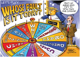 Political Cartoon U.S. Wheel of Fortune Who will Trump blame