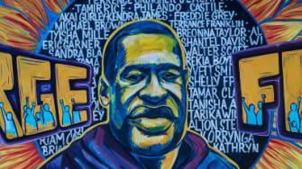 A George Floyd mural.