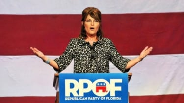 Sarah Palin speaks at a Republican fundraising event in Florida: The political star is throwing her support behind Newt Gingrich to thwart Mitt Romney.