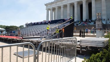 Workers prepare the Lincoln Memorial for Trump's July 4th party