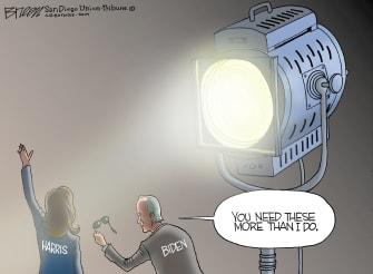 Political Cartoon U.S. Joe Biden Kamala Harris Vice President Spotlight