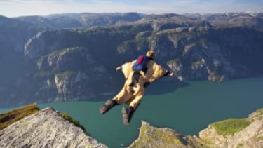 Jeb 'The Birdman' Corliss (not pictured) survived a 200-foot freefall during a BASE jump gone awry in South Africa.