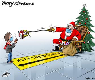 Editorial Cartoon U.S. Santa Christmas COVID social distancing