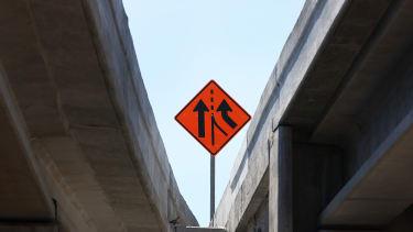 A construction sign in Miami, Florida.