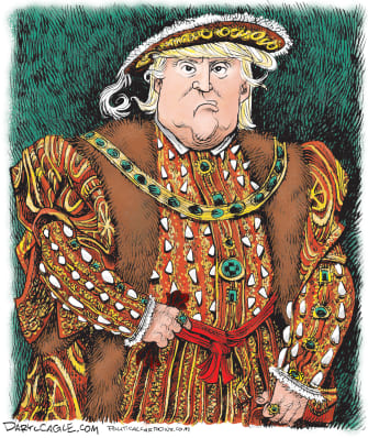 Political Cartoon U.S.Trump King Henry VIII ruler