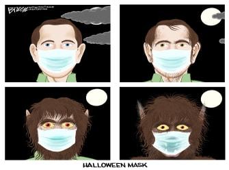 Editorial Cartoon U.S. Halloween werewolf COVID