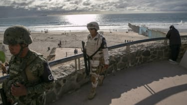 Mexican soliders at U.S. border
