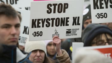 Protesters against the Keystone XL pipeline.
