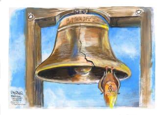 Political Cartoon U.S. Trump Liberty Bell democracy