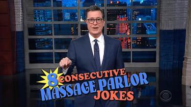 Stephen Colbert maks massage parlor jokes