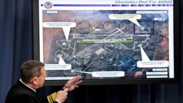 Navy Vice Adm. William E. Corney updates media Sunday on Operation Odyssey Dawn.