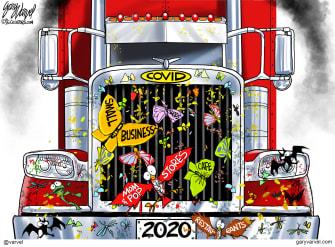 Editorial Cartoon U.S. COVID truck 2020