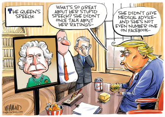 Political Cartoon U.S. Trump confused with Queen speech no medical advice TV ratings fast food