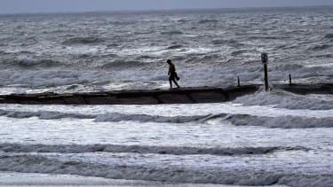 Heavy surf in Galveston, Texas.