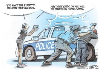 Editorial Cartoon U.S. police miranda rights cell phone video