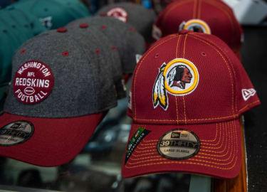 Washington Redskins hats.