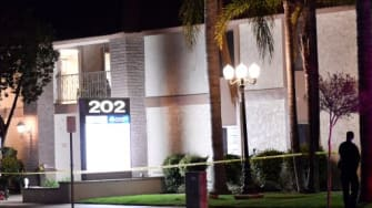 The scene of a shooting Wednesday evening in Orange, California.